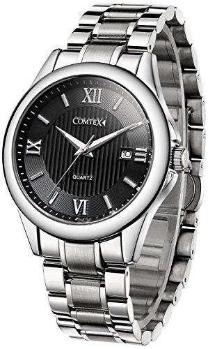 COMTEX 腕時計 ローマ字 カレンダー ステンレス アナログ おしゃれ 防水 時計 メタルバンド ブラック メンズ