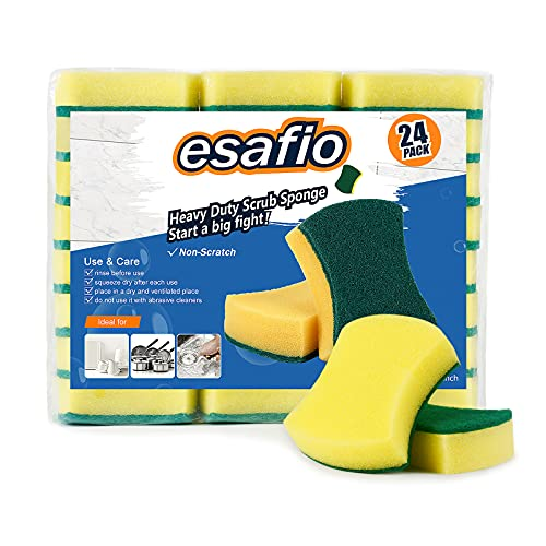 esafio 24 Pcs Heavy Duty Scrub Kitchen Sponges , Non-Scratch Cleaning Sponges,Multi-Purpose Scourer Pads for Pan Garage Bathroom