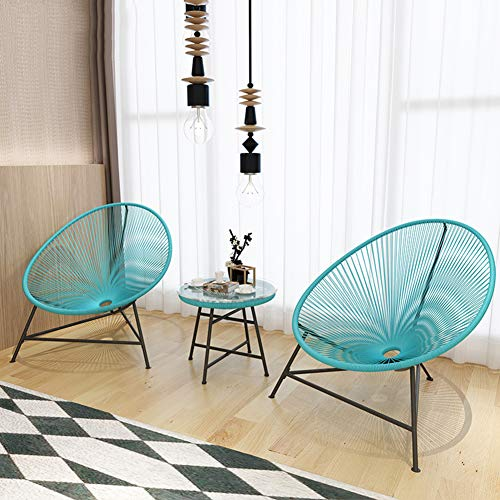 Hmcozy 3 Pieces Patio Set Outdoor Wicker Patio Furniture Sets Modern Bistro Set Rattan Chair Conversation Sets with Coffee Table for Yard and Bistro,Blue