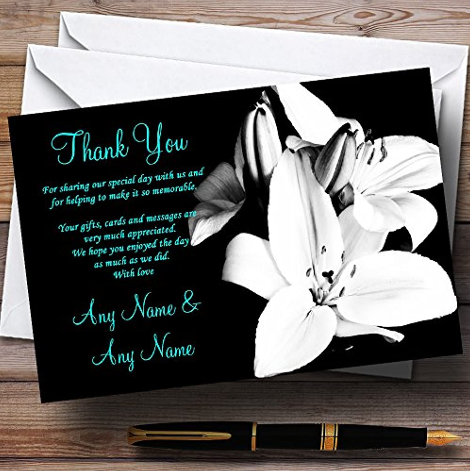 Stunning Lily Black White Turquoise Personalised Wedding Stationery Thank You Cards