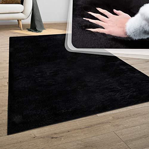 Teppich Wohnzimmer Kunstfell Plüsch Hochflor Shaggy Super Soft Waschbar In Schwarz, Grösse:120x170 cm