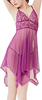 Healilly Sexy Nightwear Sexy Sleepwear Lace Perspective Nightgown Sexy Pajamas for Female (Purple Within 60KG Body Weight)