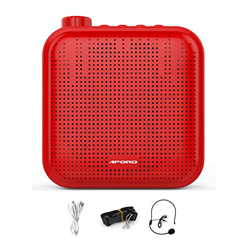 Mini Sprachverstärker Wiederaufladbar Ultraleicht mit Mikrofon Headset, Tragbar Voice Amplifier Stimmverstärker Megaphon für Trainer Lehrer Reiseführer Tagungen-Rot