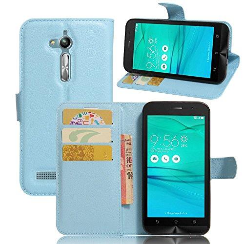 Tasche für Asus ZenFone Go ZB500KL (5.0 zoll) Hülle, Ycloud PU Ledertasche Flip Cover Wallet Hülle Handyhülle mit Stand Function Credit Card Slots Bookstyle Purse Design blau