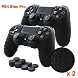 PS4 Controller Grips,Pandaren Studded Anti-Slip Silicone Cover Skin Set Compatible for PS4 /Slim/PRO Controller(Black Skin x 2 + FPS PRO Thumb Grips x 8)