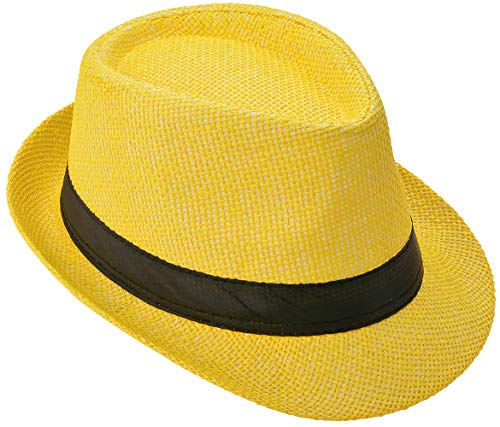 Strohhut Panama Fedora Trilby Gangster Hut Sonnenhut mit Stoffband Farbe:-Gelb (Strohhut) Gr:-54