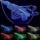 Cool Toy 3D Avión de avión de guerra creativa luz nocturna táctil avión Jet lámpara de escritorio LED ilusión lámpara de mesita de noche gratis
