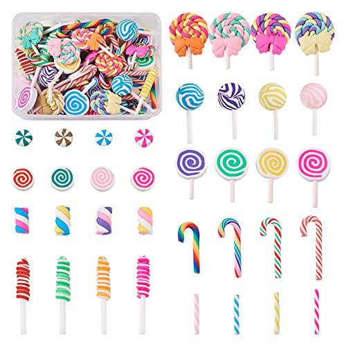 Beadthoven Lot de 140 cabochons en argile polymère 9 styles Kawaii Rainbow Candy Lollipop colonnes en résine pour bijoux, téléphone, scrapbooking, décoration de maison de poupée