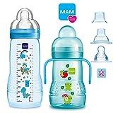 MAM Baby Bottle - Juego de biberones a partir de 4 meses Easy Active de 330 ml con tetina de tamaño 2 y MAM Trainer con tetina de tamaño 4, antigoteo y pico para beber suave
