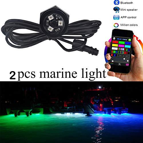 "NBWDY 2Pcs LED Boat Drain Plug Underwater Light, 3X3W/12V, 50000hr Lifespan,Garber-Fishing, Swimming, Diving, 1/2"" NPT,RGB with Bluetooth Remote Controller"