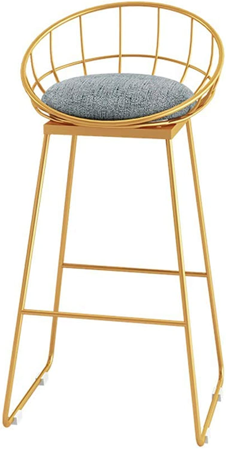 Bar Stool Bar Chair Breakfast Chair High Stool Dining Chair Cafe Living Room Home Chair Table Chair Kitchen Office Chair (color   gold, Size   63cm)