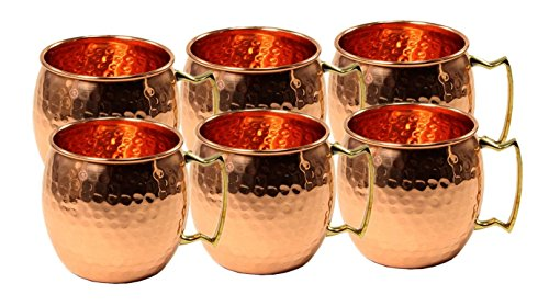 Parijat Handicraft Set of 6 Hammered Copper Moscow Mule Mug Cup, Barware Best For Parties Capacity 16 Ounce