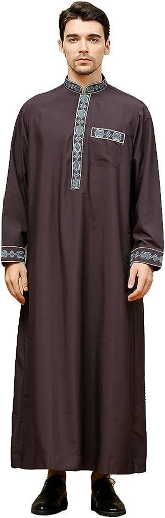 Men Saudi Arab Kaftan Robe Stand Collar Arabic Kaftan Thobe Long Sleeve Islamic Ramadan Gown Robes