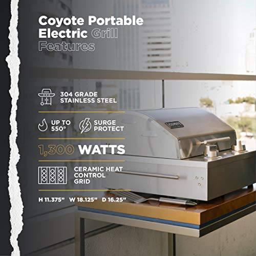 Coyote Portable Electric Grill, 18 Inch Built-in Grill with Ceramic Flavorizer - C1EL120SM