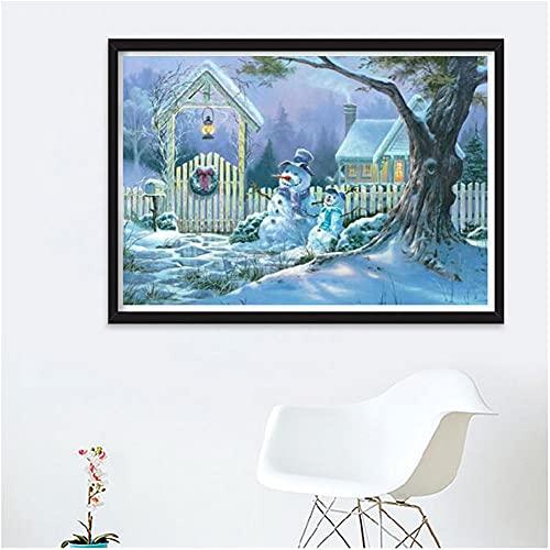 5D DIY Pintura de Diamante Completo Kit Árbol de muñeco de nieve Adultos Niños Diamond Painting Full Drill Rhinestone Bordado Artes Craft para Decoración de la Pared del Hogar Round Drill 40x50cm