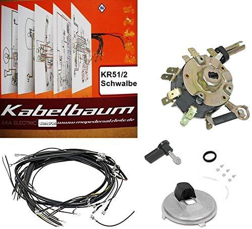 SET: Kabelbaum für Simson Schwalbe Kr51-2 + Schaltplan farbig + Zündschloss + Zündschlossabdeckung + Zündschlüssel + Kleinteile