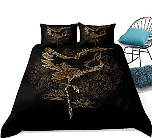 788 Black Bedding Set Gold 3D Animal Elephant Turtle Bird Sheep Head Dragonfly Scorpion Fish Bronzing Duvet Cover Super king Children Boys Girls Teen, 1 Quilt Cover 260x220 + 2 Pillowcase 50x75
