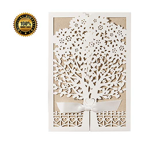 Wedding Invitations Cards Kits Ivory with Ribbon Floral Lace, 50pcs Rustic Laser Cut Invites Cardstock with Envelope for Bridal Shower, Engagement, Baby Shower, Quinceanera Bachelorette Party Birthday