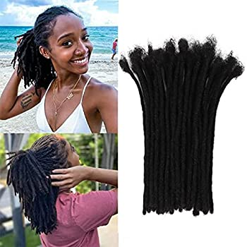 6 inch 30 Strands 100% Real Dreadlock Extensions Human Hair Handmade Permanent Loc Extensions For Women/Men Can Be Dyed ,Curled and Bleached Width 0.6 cm,6 inch,Natural Black …