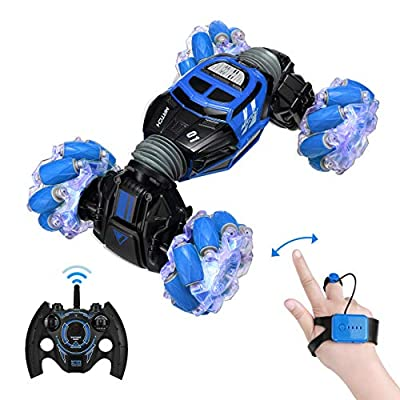 Powerextra RC Stunt Car, 4WD 2.4GHz Remote Control Gesture Sensor Toy Cars, Double Sided Rotating Off Road Vehicle 360° Flips with Lights Music, Kids Toy Cars for Boys & Girls Birthday
