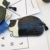 Monedero Corto de Cuero Lady Lady Small and Cute Slim Coin Bag Llavero Fashion Small Wallet Black