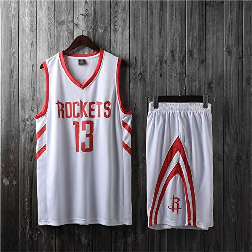 Jerseys De Hombre, NBA Houston Rockets # 13 James Harden - Niño Uniformes De Baloncesto Para Adultos Classic Sin Mangas Deportivas Camisetas Y Cómodos Chalecos Tops Set,Blanco,2XL(Child)155~160CM