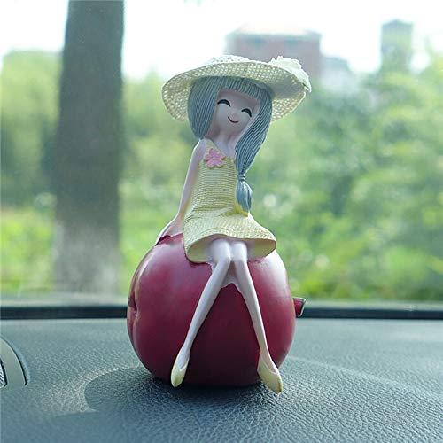 IFMGJK Ornamentos del Coche Linda decoración de Resina Regalos de Frutas Muñeca de Kawaii Figurines limón Chica Crafts automático de Paneles de decoración (Color Name : Apple Girl)