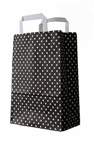 250 farbige Papiertragetaschen Papiertaschen Tüten Papiertüten Tragetaschen Shopper schwarz-weiß gepunktet 22 + 11 x 31 cm 90 g/qm