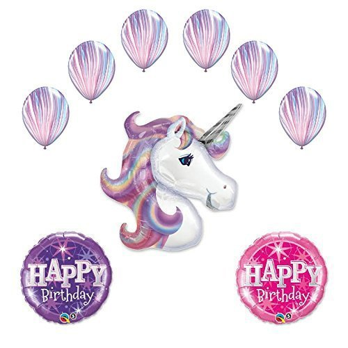 Lavender Unicorn and Fashion Agate Latex Rainbow Birthday Party Balloon supplies decorations