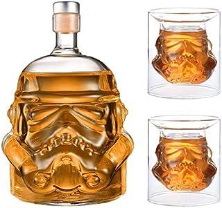JUSSES Whisky Karaffe Whisky Decanter Wein Whisky Karaffe aus Glas mit Korkenverschluss-750ml Bottle 2Glasses