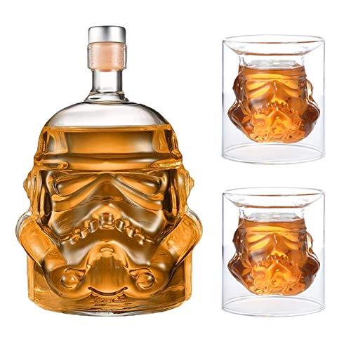 JUSSES Kreative Whiskykaraffe, transparent, für Whisky, Wodka und Wein, 1 x Flasche (750 ml) und 2 Gläser (8,5 x 9,5 x 9 cm)