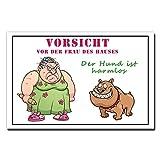 TRIOSK Blechschild Hund lustig mit Spruch Vorsicht Frau