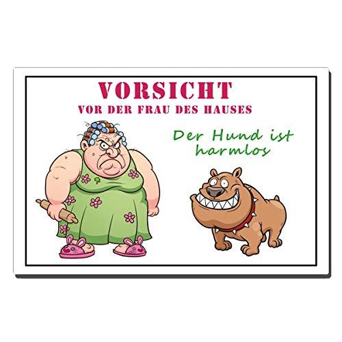 TRIOSK Blechschild Hund lustig mit Spruch Vorsicht Frau Warnschild 20x30 cm Metallschild Hunde Sprüche Dekoschild Geschenk für Hundeliebhaber