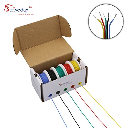 Striveday 30 AWG Flexible Silicone Wire Electric wire 30 gauge Coper Hook Up Wire 300V Cables electronic stranded wire cable electrics DIY BOX-1