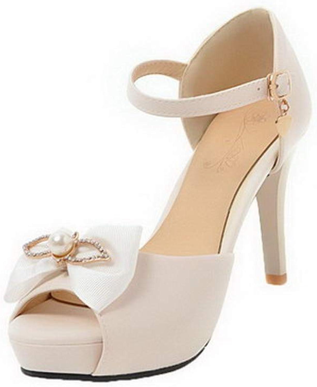 AmoonyFashion Women's Pu High-Heels Open-Toe Solid Buckle Sandals, BUTLT008074