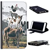 Hairyworm Funny Leather Phone Case Chicken cat and dog on