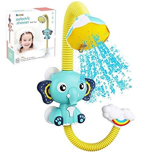 Baby Badewannenspielzeug Wasser Dusche Badespielzeug, Elefant Wasserpumpe Bad Duschkopf Ausgießer Wasserspielzeug Mit Saugnapf, Elektrische Baby Wasserspray Spielzeug Für Ab 1 2 3 Jahren Kinder (Blau)