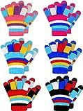 BETOY Bambini Guanti Dito Pieno 6PCS Bambini Guanti Invernali a Strisce Lavorate a Maglia Caldo Guanti da dito pieno per bambini(2-7 Anni)