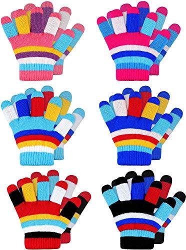 BETOY Strickhandschuhe Kinder 6 Paare Stretch Vollfinger Handschuhe Kinderhandschuhe Vollfinger Kinder Warme Handschuhe Winter Warme Strickhandschuhe für Jungen und Mädchen(2-7 Jahre alt)