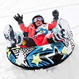 WORUIJIA Snow Tube for Winter Fun Inflatable Snow Sled for Kids and Adults 47 Inch Heavy Duty Snow Sleds for Sledding Best Winter Gift