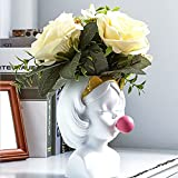Cute Girl Blowing Bubbles Succulent Planters, Funny Head Vase Statue Planter Pot Home Indoor Outdoor Decoration, Smiling Face Resin Flower Pot Container Table Ornament (A-White)
