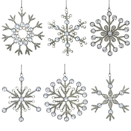 Set of 6 Handmade Large Snowflake Iron and Glass Pendant Christmas Ornaments Tree, 9 Inches