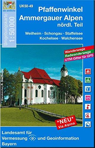 Pfaffenwinkel - Staffelsee 1 : 50 000 (UK 50-49) (UK50 Umgebungskarte 1:50000 Bayern Topographische Karte Freizeitkarte Wanderkarte)