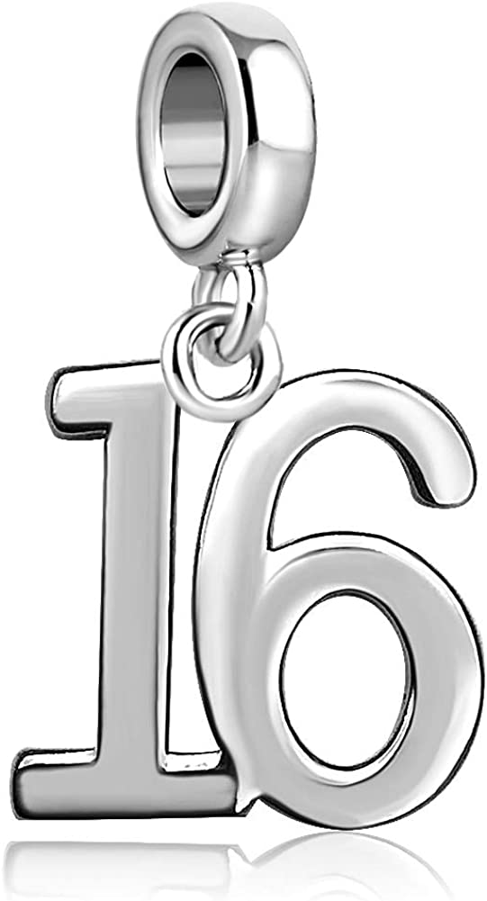 JMQJewelry 16 18 21 50 th Lucky Milestone Number Happy Birthday Gift Dangle Charms for Bracelet Women Girls Boy Men Child Kids Jewelry