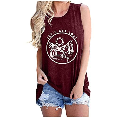 Camiseta sin Mangas Mujer Impresión tee Clásico con Cuello en Redondo Basica Camiseta Ligera Ablandado Verano Casual Tops