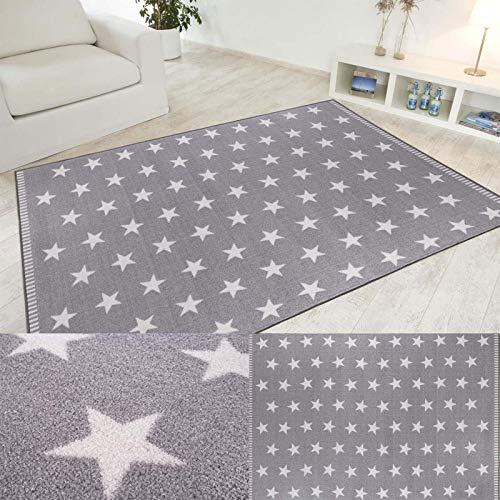 Misento Alfombra de diseño Estrellado Cielo Estrellado, Gris Claro o Gris Oscuro en 4 tamaños, Tamaño:133x190cm, Color:Hellgrau