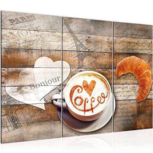 Runa Art Kaffee Küche Bild Wandbilder Wohnzimmer XXL Beige Braun Kaffeetasse Holz 120 x 80 cm 3 Teilig Wanddeko 012831a