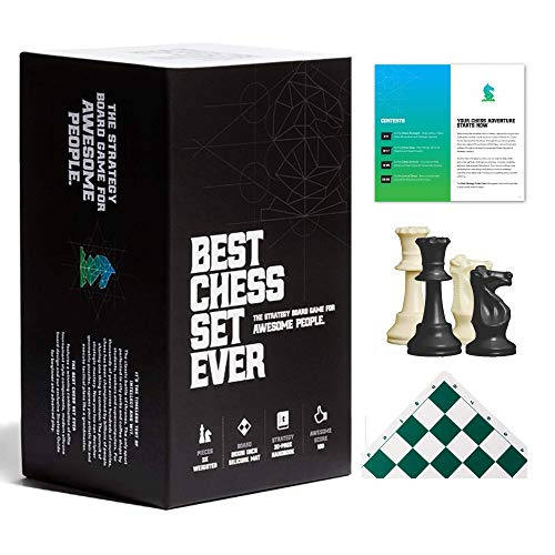 Best Chess Set Ever - Board Game for Kids and Adults - Tournament Chess Pieces, Portable Travel Chess Board and Exclusive Strategy Book