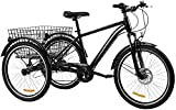 7-Speed Adult Tricycle w Adjustable Handlebars and Seat Three-Wheel Mountain Bicycle Complete Beach Cruiser Trike-Black1_24'/7-Speed