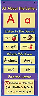 """Really Good Stuff All About Letters Pocket Chart – Get Students Involved in Learning The Alphabet, Letter Sounds and Reading Basics – Grommets and Magnetic Strip for Easy Hanging, 14"""" x 37"""""""